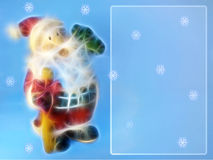 Cristmas card with Santa (fractals) and snowflakes Stock Images