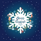 Cristmas card. White silhouette snow flake, gift-boxes, candies, toys behind it.  Stock Photography