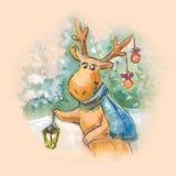 Cristmas cartoon art. Smile deer, watercolor drawing. Suitable f Stock Images