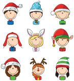 Cristmas children avatars Stock Photography