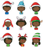 Cristmas children avatars Royalty Free Stock Photos