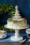 Cristmas Coconut Cake Stock Images
