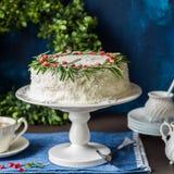 Cristmas Coconut Cake Stock Photos