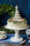 Cristmas Coconut Cake Stock Photography