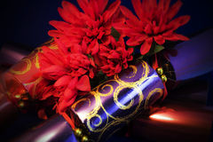 cristmas crackers. A close up of luxury christmas crackers with  silkflowers Stock Photography