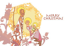 Cristmas Crib. Baby Christ with mother Mary and a father stock illustration