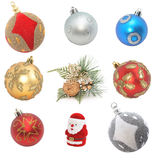 Cristmas decoration. Sampler of cristmas decoration isolated on white Royalty Free Stock Photos