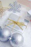 Cristmas decoration. Blue and silver christmas decorations Royalty Free Stock Photos