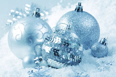 Cristmas decoration. Balls on snow Royalty Free Stock Images