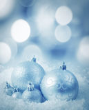 Cristmas decoration. Balls on snow Stock Photography