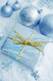 Cristmas decoration. Blue cristmas decoration on snow Royalty Free Stock Photography