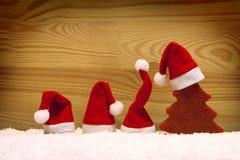 Cristmas decoration and santa hats. Royalty Free Stock Photography