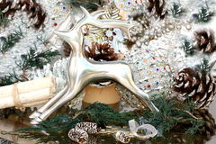 Cristmas decoration with silver deer Royalty Free Stock Photos