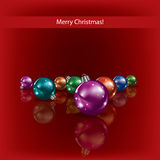Cristmas decorations on red background Royalty Free Stock Photos