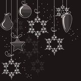 Cristmas decorations and snowflakes Royalty Free Stock Image