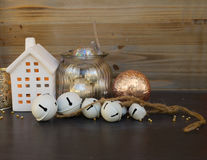 Cristmas decorations and winter house Royalty Free Stock Image