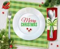 Cristmas Dinner Cutlery Realistic Composition Poster Royalty Free Stock Photography