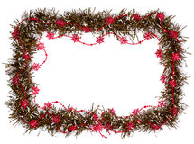 Cristmas frame. With red stars isolated on white Stock Photos