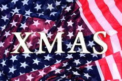 Cristmas frame with USA flag Royalty Free Stock Photo