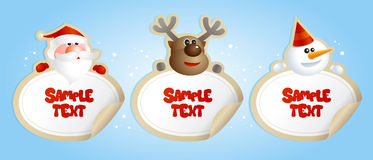 Cristmas frames with deer, Santa and snowman. Stock Photography