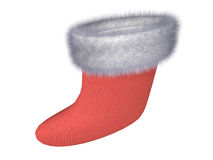 Cristmas gift. Red fur stocking with the white edging Royalty Free Stock Images