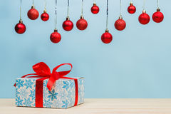 Cristmas gifts with red ribbons Stock Photos