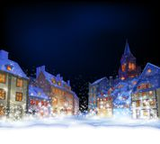 Cristmas greeting card.  Fabulous snow-covered town in the Chris royalty free illustration