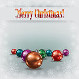 Cristmas greeting with decorations on white Royalty Free Stock Images