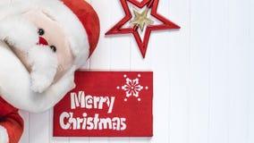 Cristmas Hintergrund Rote Dekoration Santa Claus Merry Cristmas-Grußkarte Stockfotografie