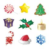 Cristmas icon set. Decorative icons with different christmas symbols Stock Photo