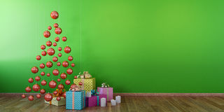 Cristmas interior with red balls, green wall mock up. Christmas decoration and gifts with red balls christmas tree, green wall, empty room, wooden floor, mock up Royalty Free Stock Photo