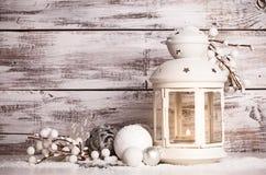 Cristmas lampion z śniegiem Zdjęcia Royalty Free