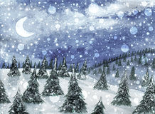 Cristmas landscape. Fir trees on the hills and falling snow. In watercolor Stock Image