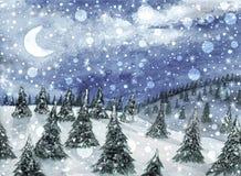 Cristmas landskap Granträd på kullarna och den fallande snön Fotografering för Bildbyråer