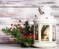 Cristmas lantern with fir Royalty Free Stock Image