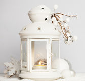 Cristmas lantern with snow Royalty Free Stock Images