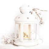 Cristmas lantern with snow. Cristmas lantern with decorations and snow over white  background Stock Photography