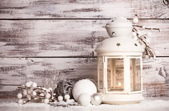 Cristmas lantern with snow Royalty Free Stock Photos