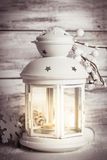 Cristmas lantern with snow Stock Photos