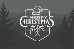 Cristmas logo with lettering. Typography logo on dark background. Usable for banners, greeting cards, gifts etc Royalty Free Stock Photo