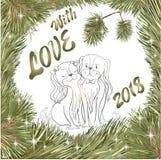 Cristmas love Spaniel dog fir tree stock illustration