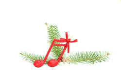Cristmas music notes decoration on a tree branch royalty free stock photography