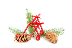 Cristmas music notes decoration on a tree branch royalty free stock images