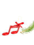 Cristmas music notes decoration on a tree branch stock photos