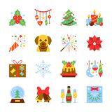 Cristmas and New Year colorful icon set. Flat style symbol pack. Dog, bell, tree, firework, champagne, garland, candle, snow ball, holly, gift, snowflake Royalty Free Stock Photo