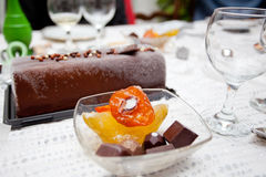 Cristmas New year`s table celebration, sweet dessert Royalty Free Stock Photography