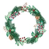 Cristmas and New Year Wreath on the White Background vector illustration