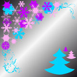 Cristmas pines and white snowflakes Royalty Free Stock Photography