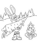 Cristmas rabbit and gift Royalty Free Stock Image