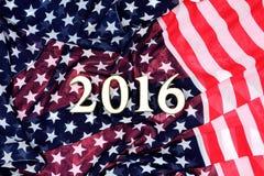 Cristmas ram med USA flaggan Royaltyfria Bilder